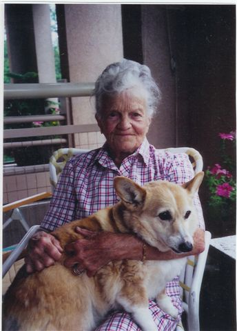 Katharine (known by her friends as K.K.) with her beloved dog Jenny.